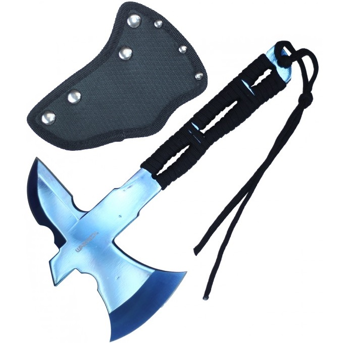 "Mini Throwing Axe | 8"" Overall Full Tang Blue Blade Cord-Wrap Handle Tomahawk"