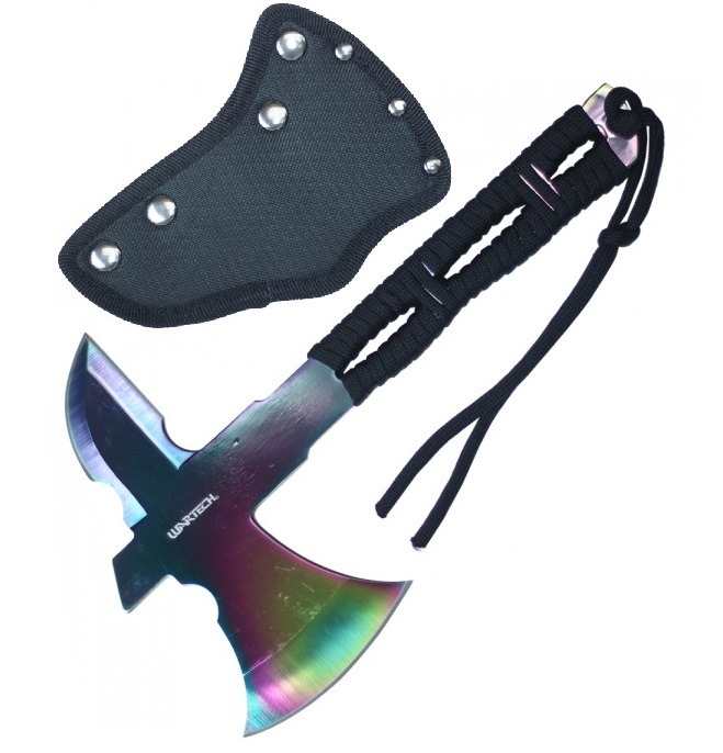 "Mini Throwing Axe | 8"" Overall Full Tang Rainbow Blade Cord-Wrap Handle Tomahawk"