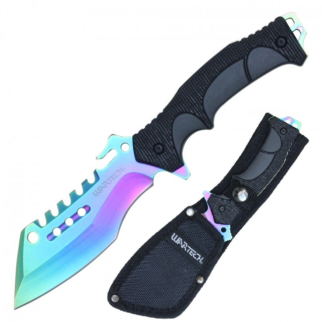 "Tactical Knife | Wartech 4.2"" Rainbow Blade Fantasy Cleaver Full Tang + Sheath"