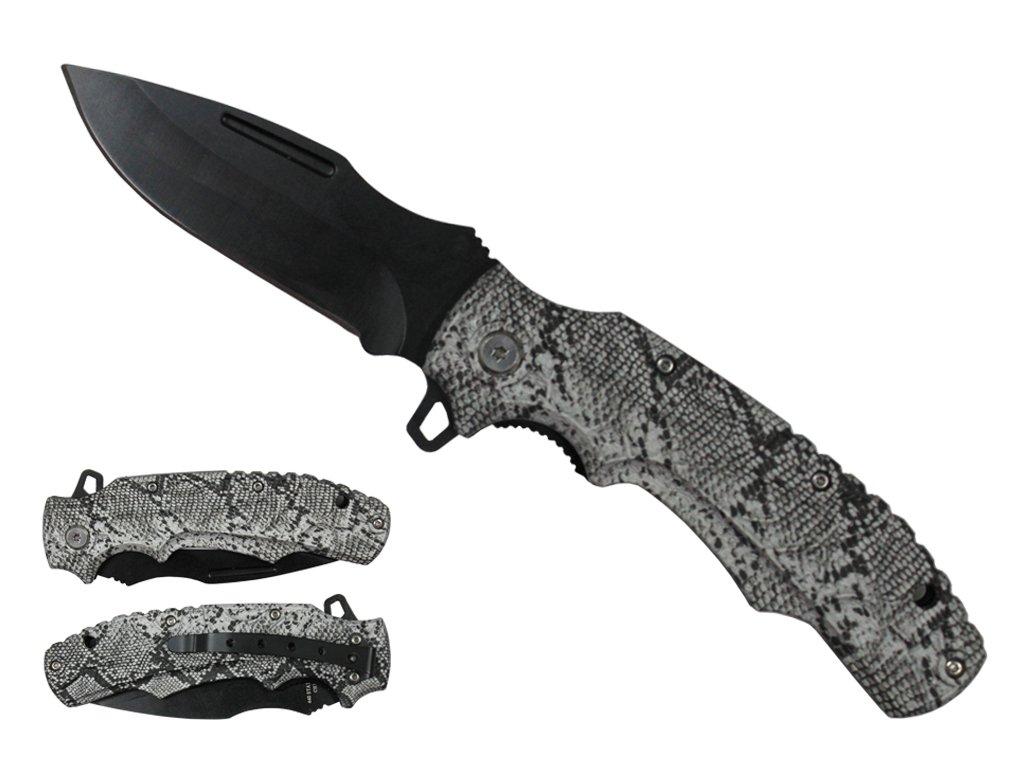 Spring-Assist Folding Knife   Snakesnkin Handle Black Stainless Steel Blade Edc