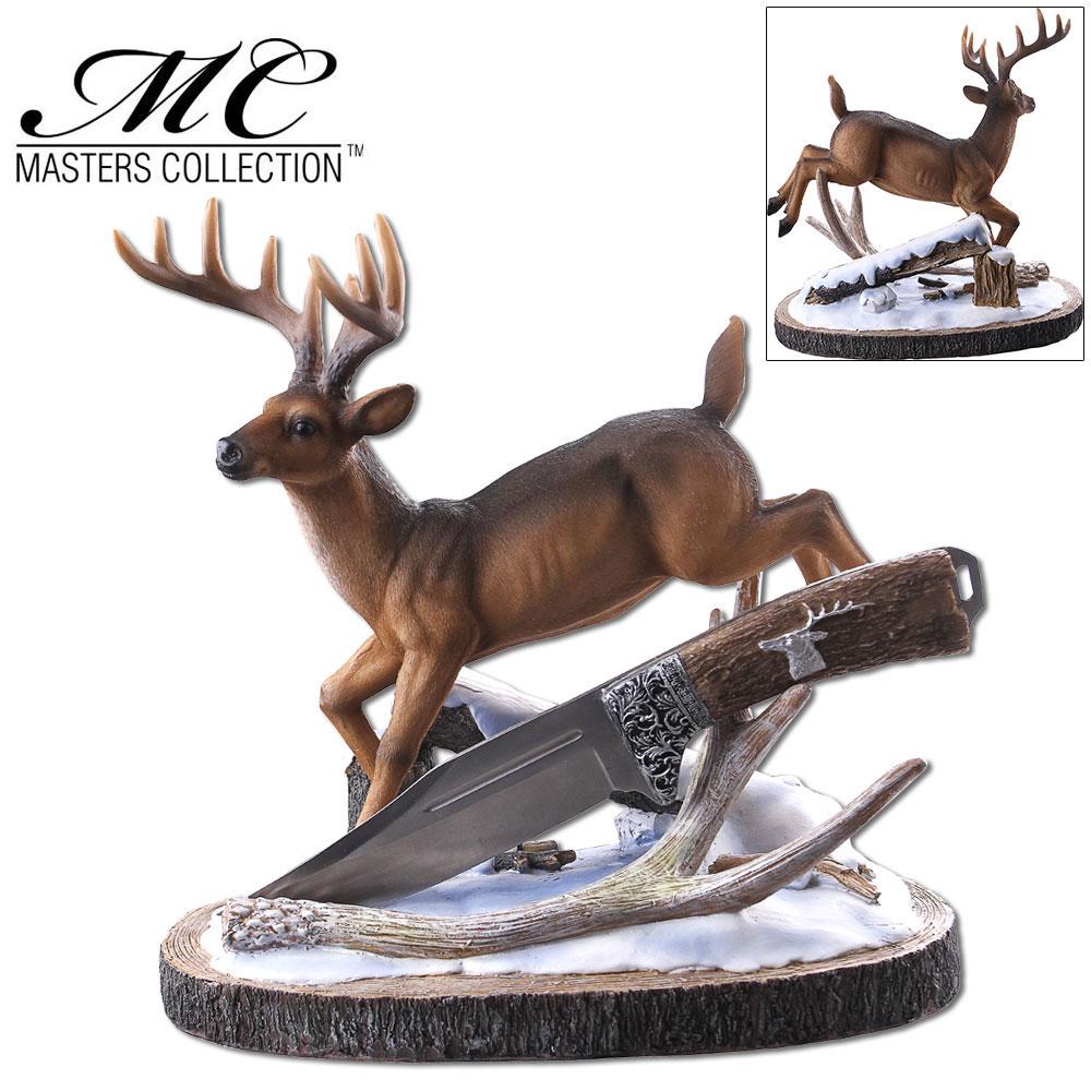 Hunting Knife | Deer Hunter Silver Blade Full Tang Skinner + Display Stand