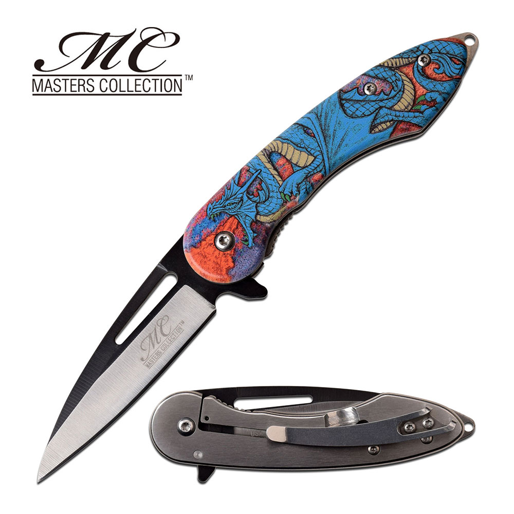 "Spring-Assist Folding Knife 3"" Blade Embossed Fantasy Blue Dragon Tactical Edc"