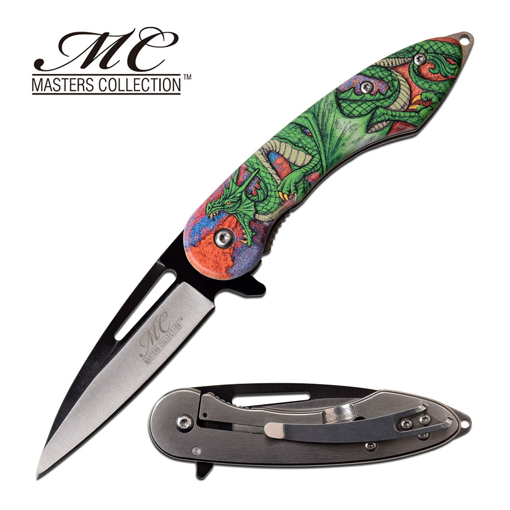 "Spring-Assist Folding Knife 3"" Blade Embossed Fantasy Green Dragon Tactical Edc"