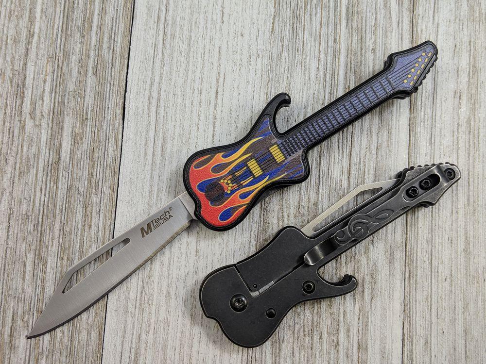 Folding Knife | Mtech Mini Electric Guitar Flames Pocket Blade
