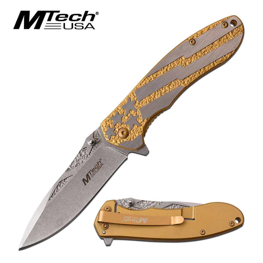 "Spring-Assist Folding Knife | All-Steel 3.5"" Blade Gold American Flag Edc"