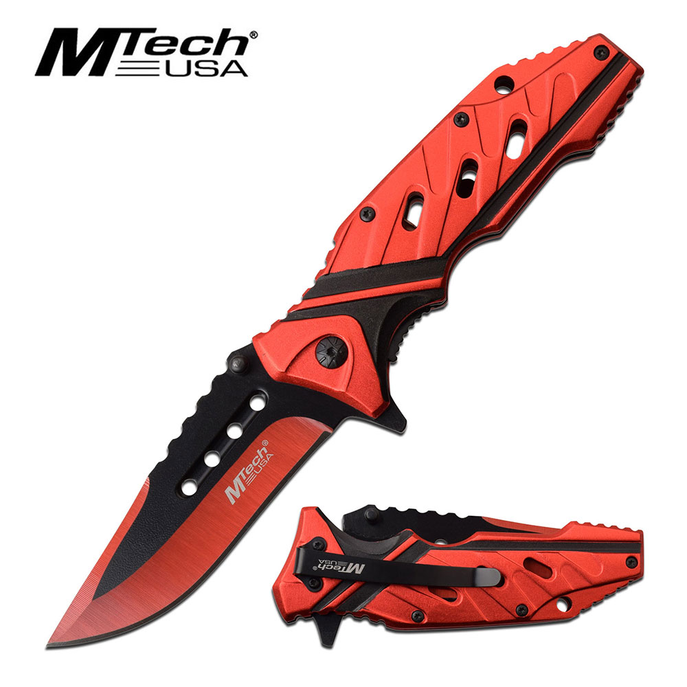 "Spring-Assist Folding Knife | Mtech 3.5"" Red Black Blade Edc Tactical 1040Rd"