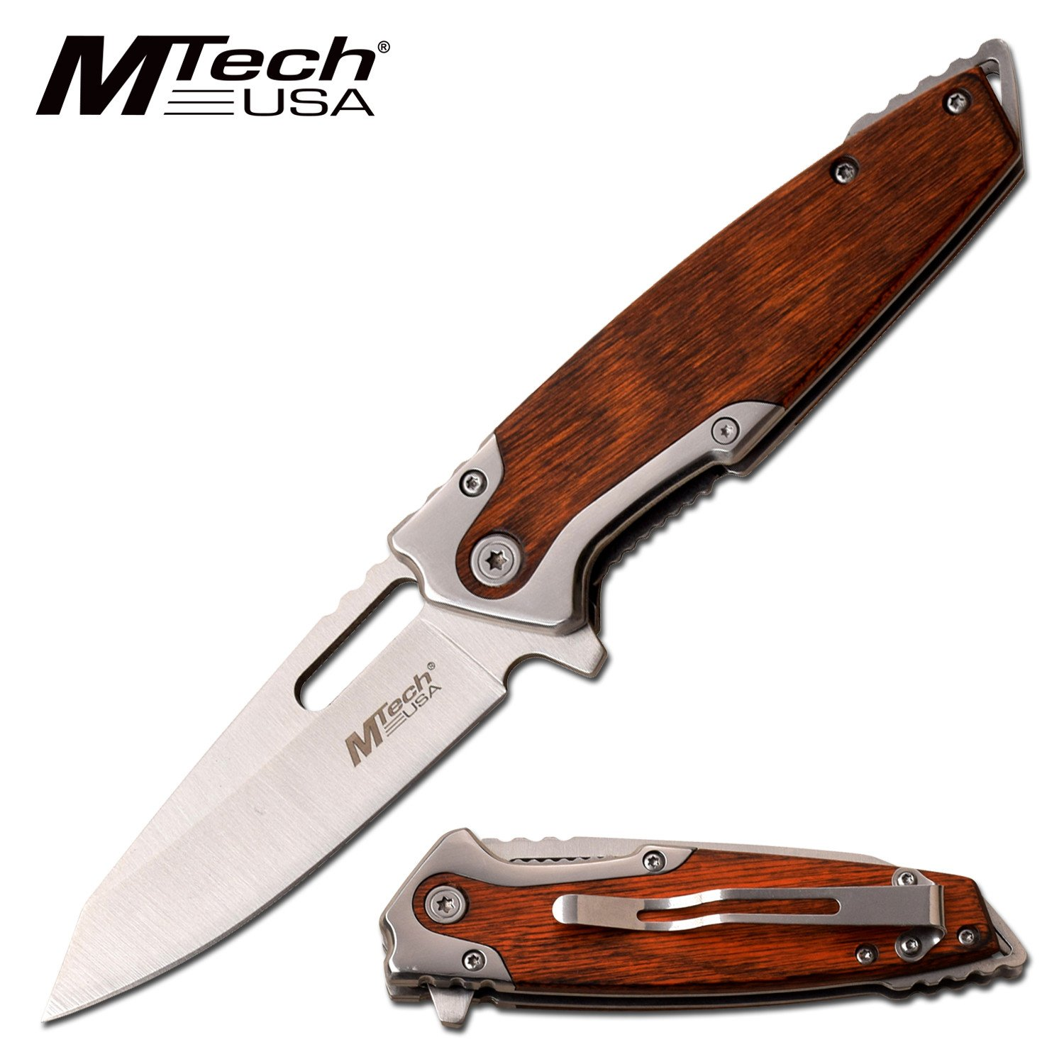 "Spring-Assist Folding Knife | Mtech 3.25"" Silver Blade Brown Wood Edc Hunter"