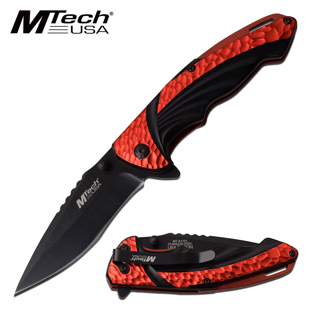 "Spring-Assist Folding Knife | Mtech Tactical Edc Black 3.5"" Blade Red Stone"