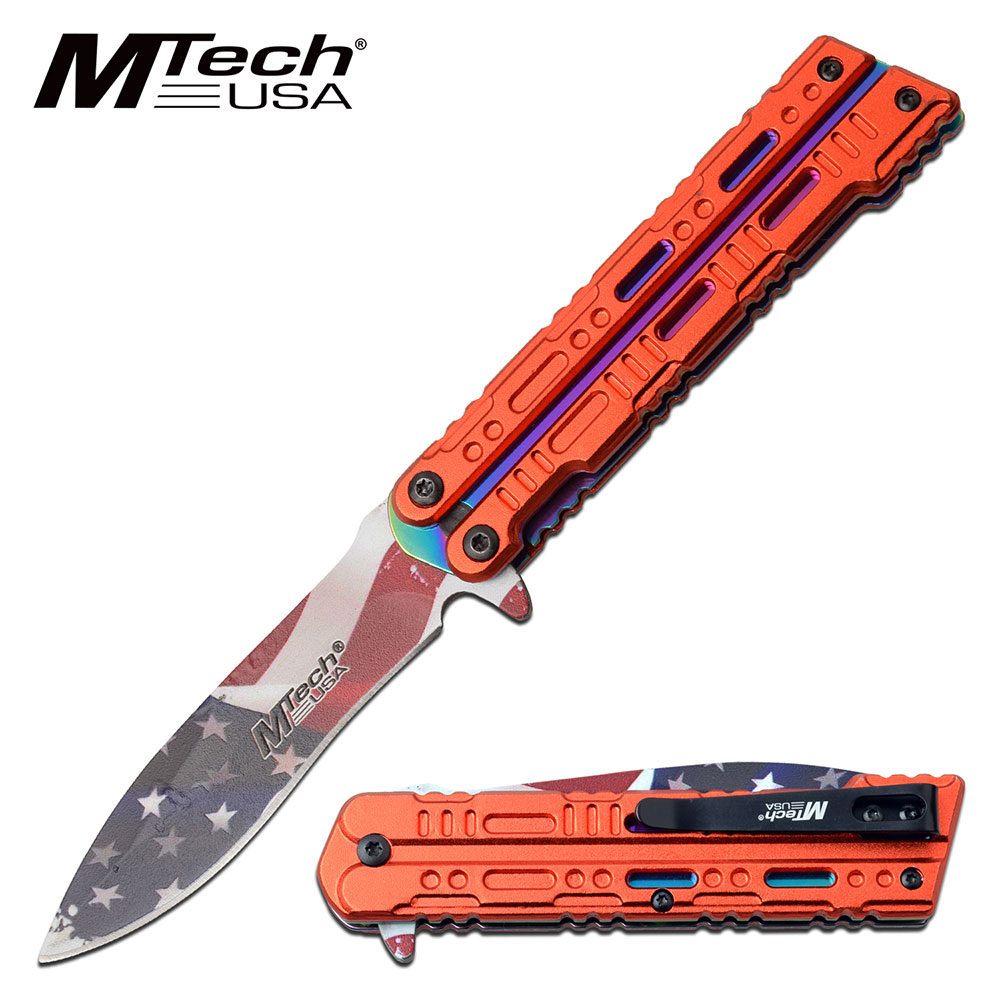 "Spring-Assist Folding Knife Mtech 3.5"" Blade Usa American Flag Red Handle"