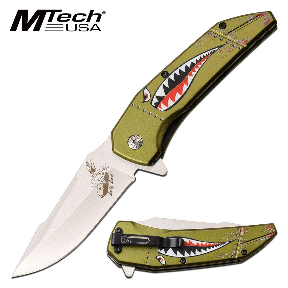 "Spring-Assist Folding Knife Edc Mtech 3.5"" Blade Wwii Aircraft Nose Art - Green"