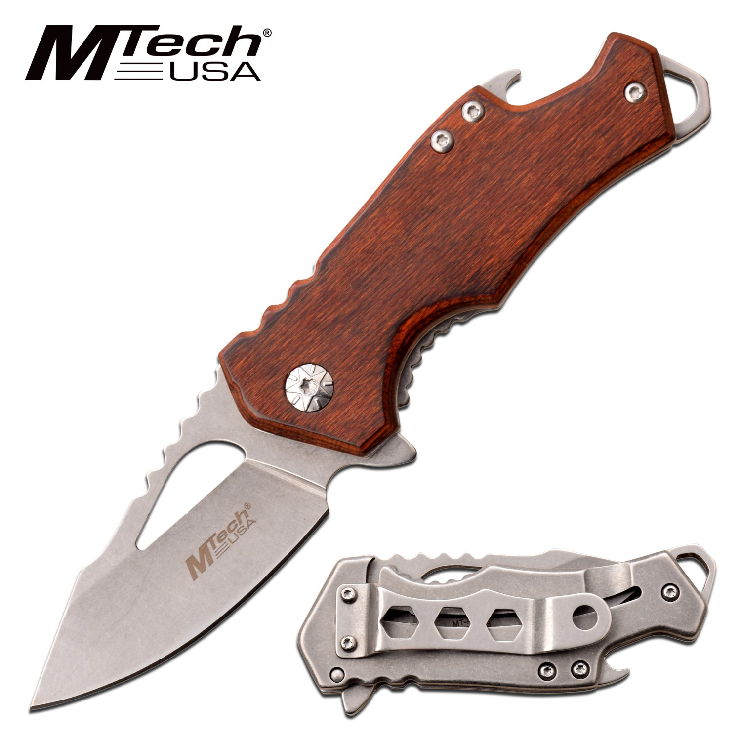 "Spring-Assist Folding Knife | Mtech Mini Wood 2.25"" Silver Blade Tactical Edc"