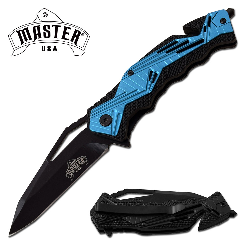 "Spring-Assist Folding Knife | 3.5"" Black Blade Blue Rescue Tactical Edc"