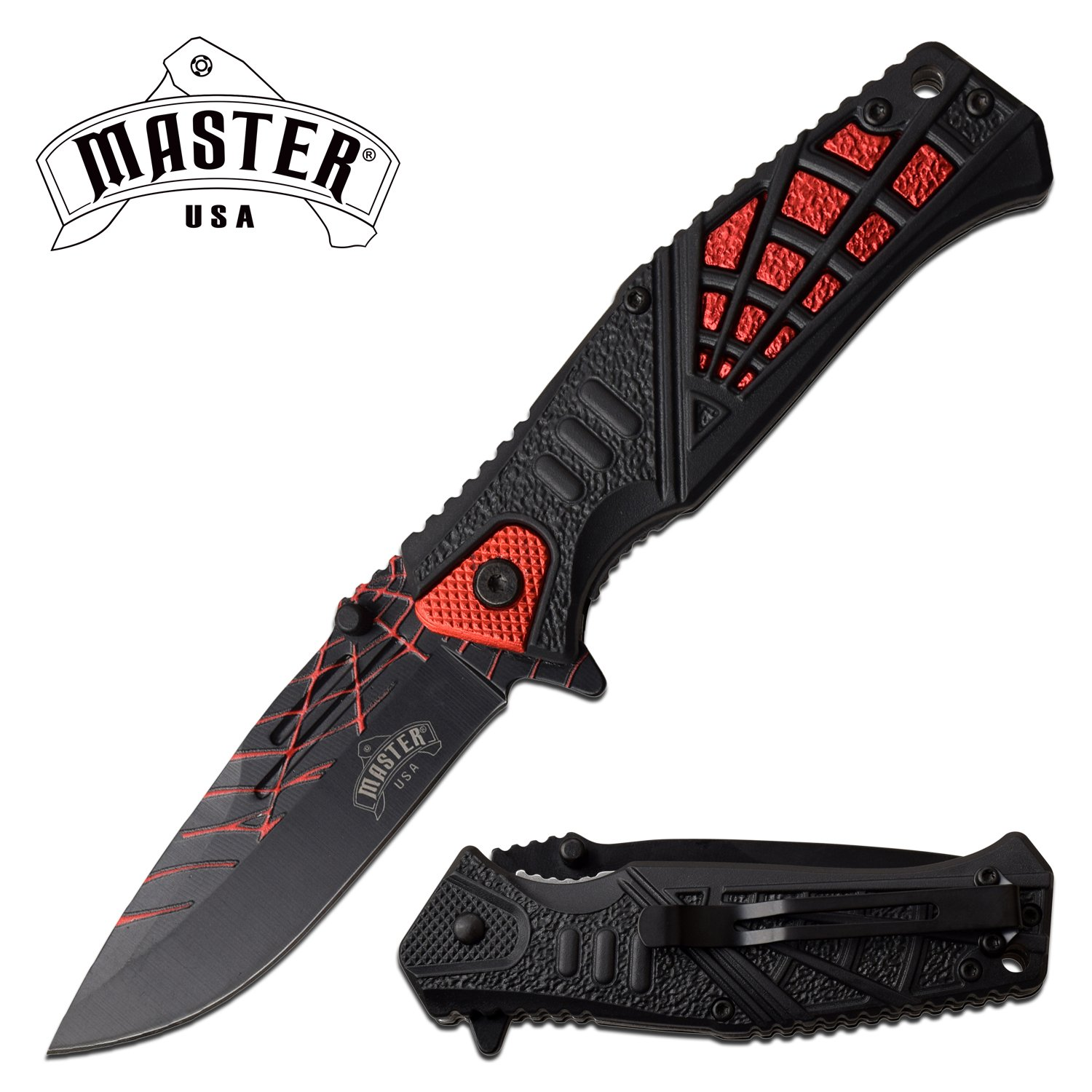 "Spring-Assist Folding Knife | 3.6"" Black Drop Blade Red Spider Web Fantasy Edc"