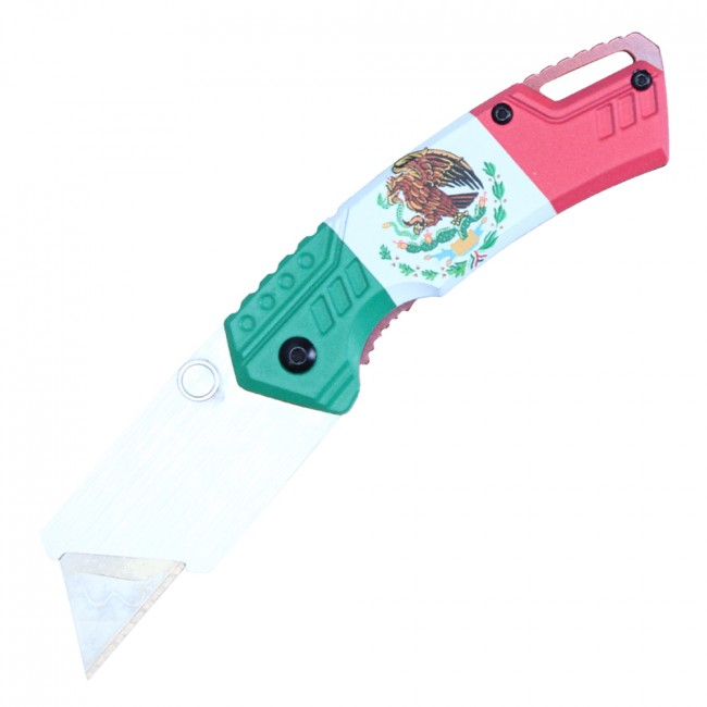 Folding Box Cutter Utility Knife | Interchangeable Blade Mexican Flag Pbwt1M