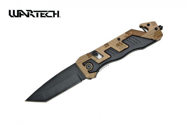"Spring-Assist Folding Knife Wartech Rescue Black Tanto 3.5"" Blade Tan Camo Edc"