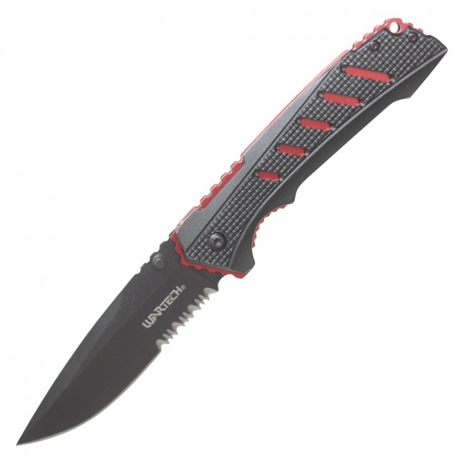 "Spring-Assisted Folding Knife | Wartech Black Red Tactical EDC 3.5"" Blade"