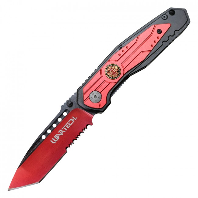 Spring-Assisted Folding Knife Wartech Red Black Tanto Serrated Blade Firefighter