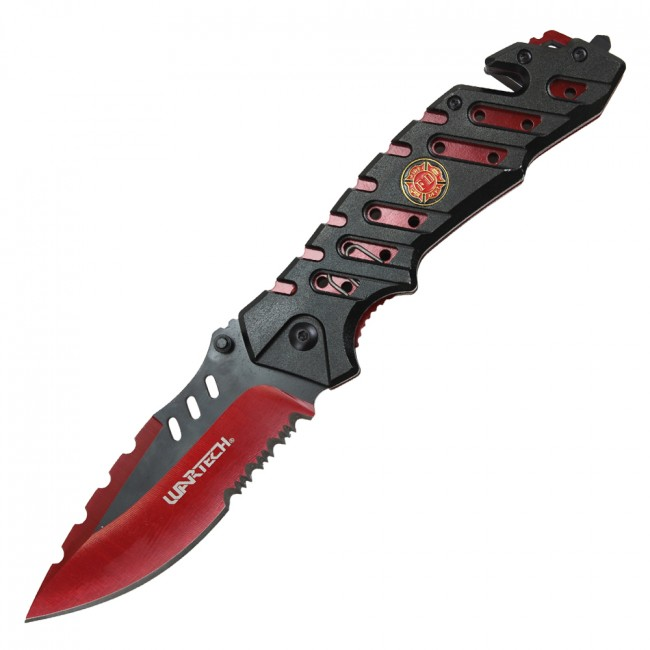 "Spring-Assisted Rescue Folding Knife Camo Serrated 3.8"" Blade Firefighter Red"
