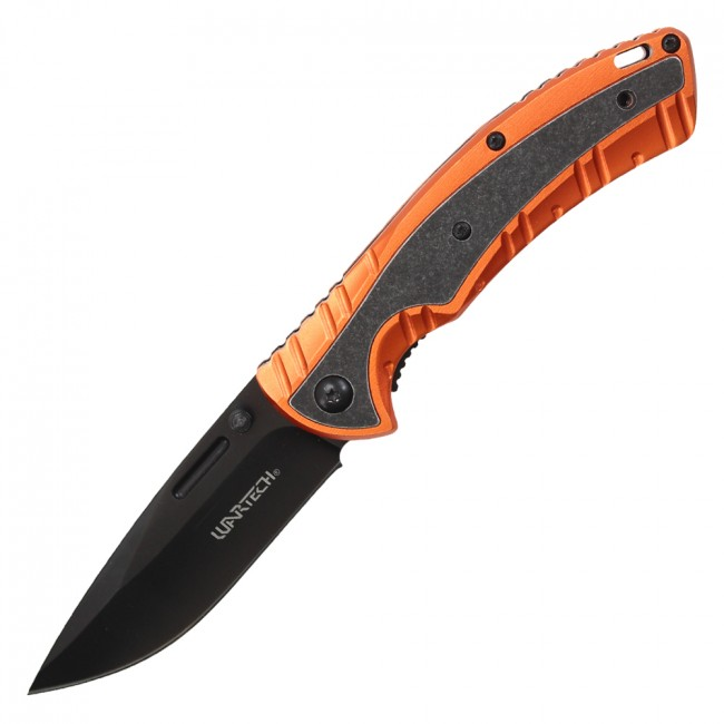 "Spring-Assisted Folding Knife | Wartech Stone Gray 3.25"" Blade Tactical Orange"