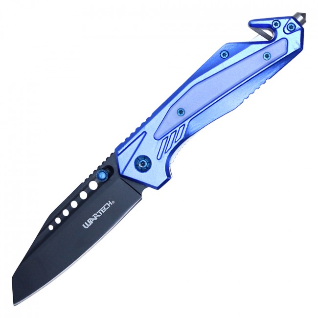 Spring-Assist Folding Knife | Blue Tactical Rescue Blade Glass Breaker PWT318BL