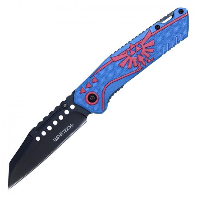 Spring-Assist Folding Knife   Legend of Zelda Link Master Blue Red Game PWT319BL