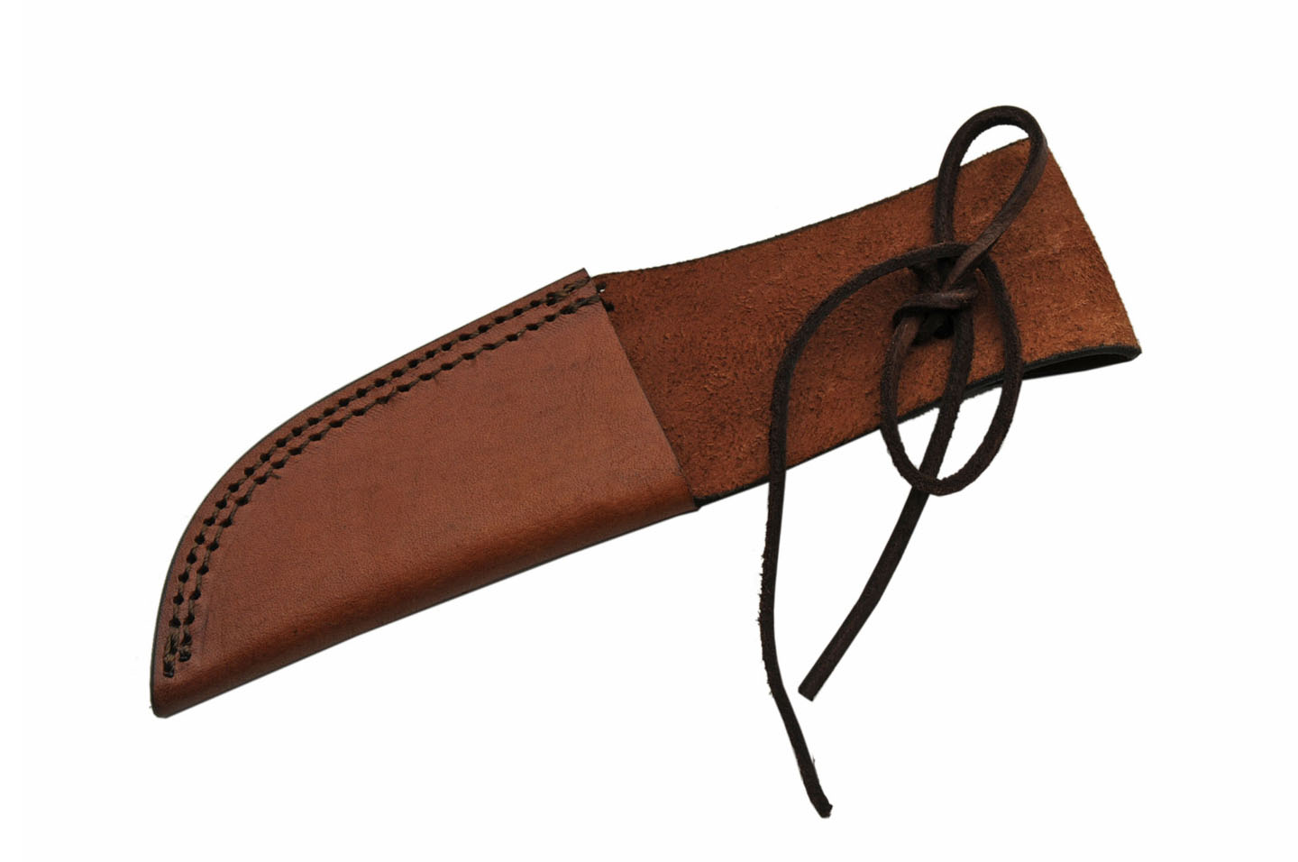 "Fixed-Blade Knife Belt Sheath | 9"" Overall Brown Leather - Fits Up To 5"" Blade"