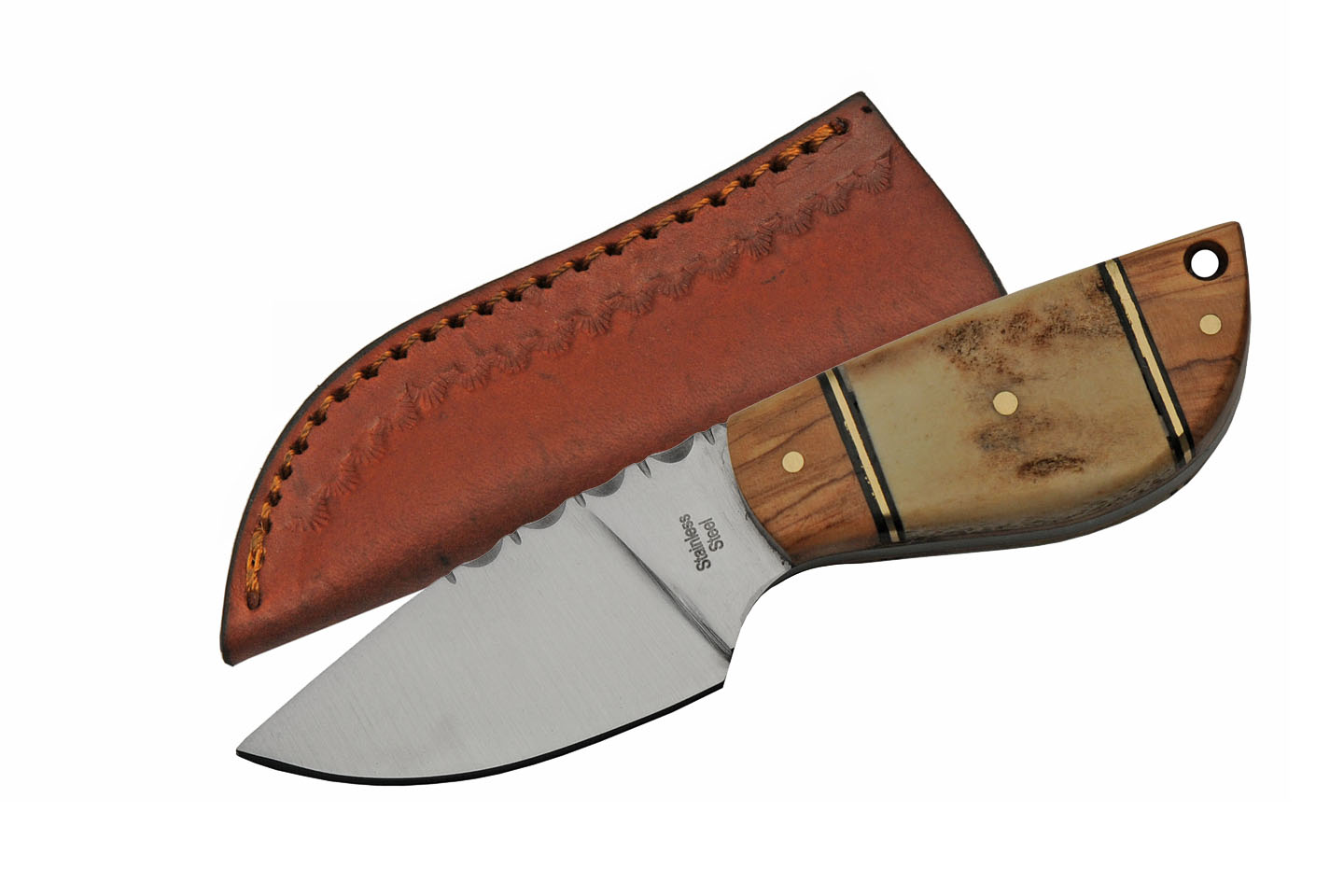 "Hunting Knife 5"" Overall Mini Wild Stag Wood Skinner Full Tang + Leather Sheath"