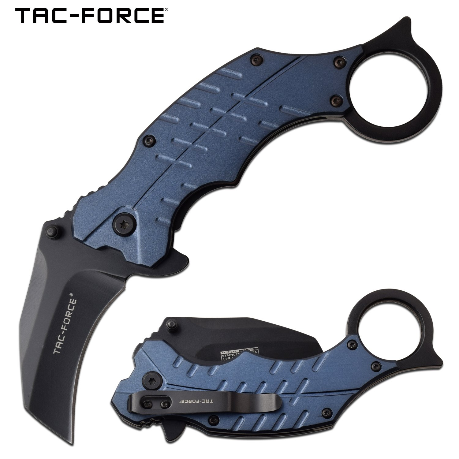 "Spring-Assist Folding Knife Tac-Force  Karambit 2.5"" Black Blade Tactical - Blue"