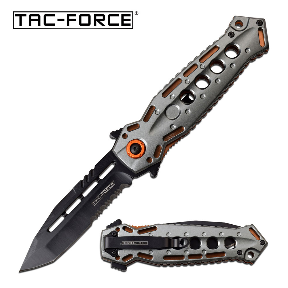 Spring-Assist Folding Knife | Tac-Force Black Tanto Stiletto Blade Gray Tactical