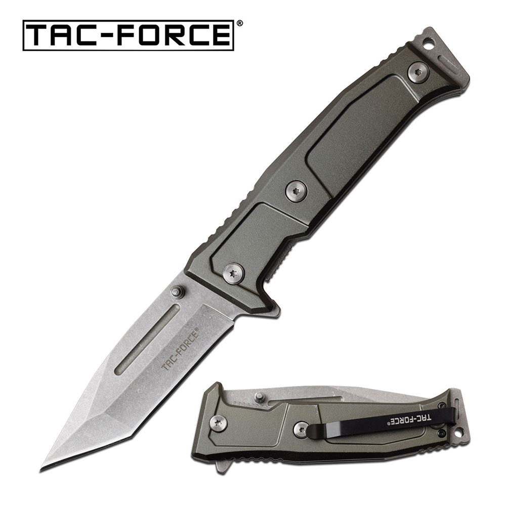 "Spring-Assist Folding Knife | Tac-Force 3.6"" Tanto Blade Gray Tactical Edc"