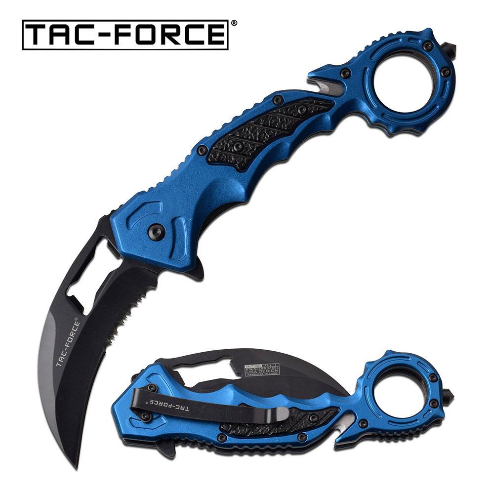 Spring-Assist Folding Knife Tac-Force Blue Karambit Black Serrated Blade Rescue