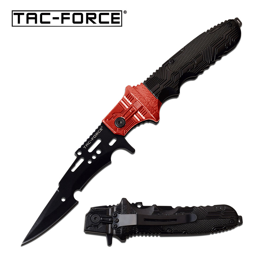 Spring-Assist Folding Knife Tac-Force Red Black Arrowhead Blade Fantasy Tactical