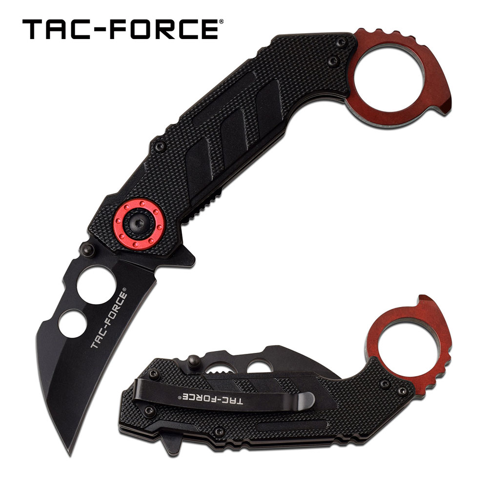 "Spring-Assist Folding Knife | Tac-Force 2.3"" Black Blade Red Tactical Karambit"