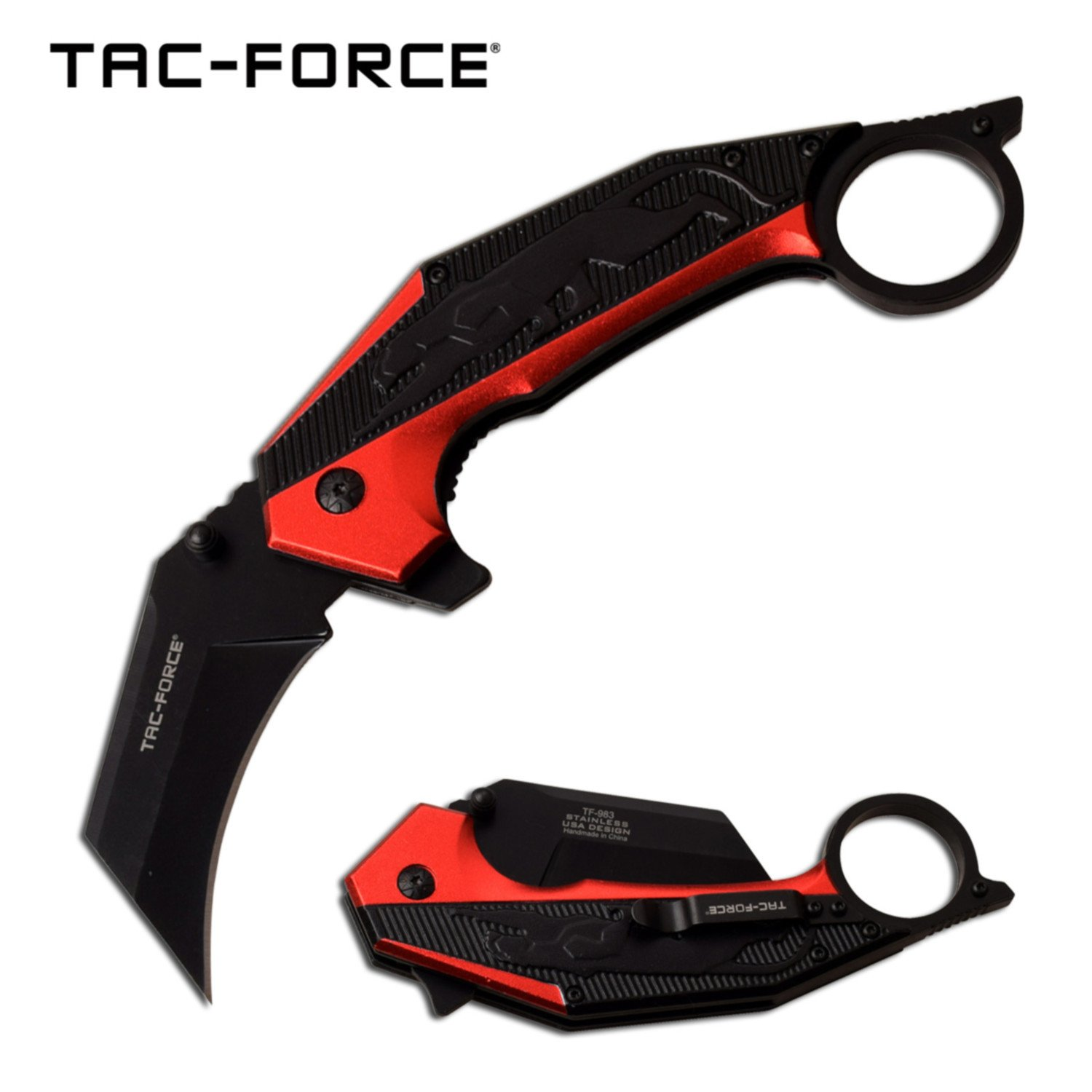 "Spring-Assist Folding Knife Tac-Force 2.75"" Black Blade Panther Red Tactical"