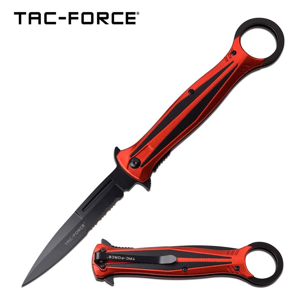 "Spring-Assist Folding Knife | Tac-Force 4"" Stiletto Serrated Blade Red Tactical"