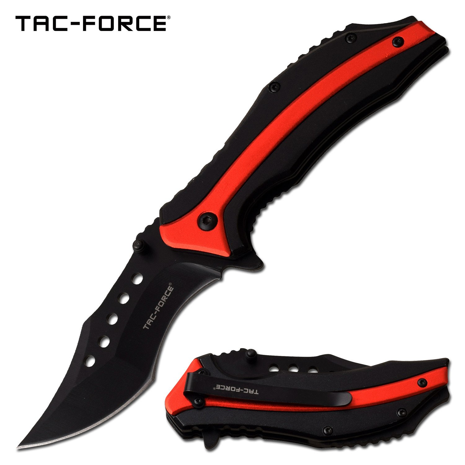 "Spring-Assist Folding Knife | Tac-Force 3.5"" Black Clip Blade EDC Tactical Red"