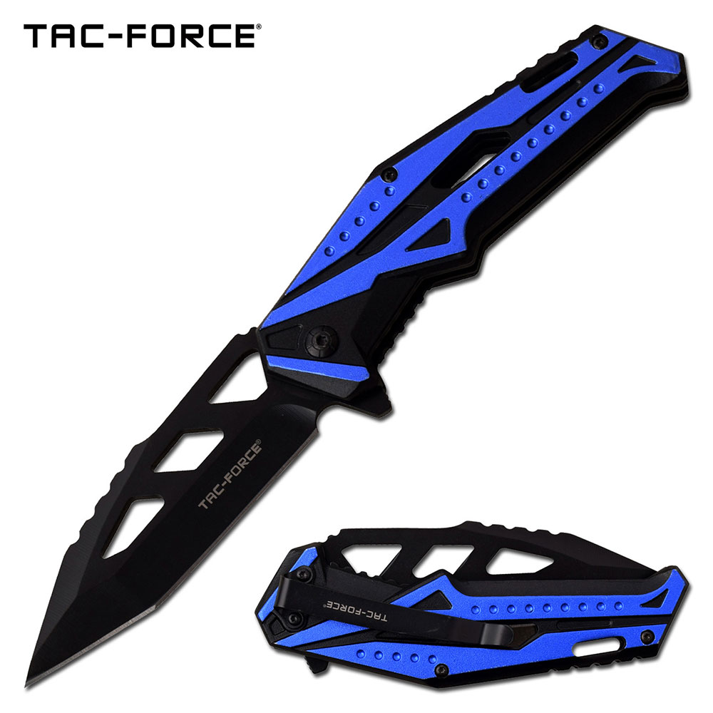 "Spring-Assist Folding Knife | Tac-Force 3.5"" Black Tanto Blade EDC Tactical Blue"