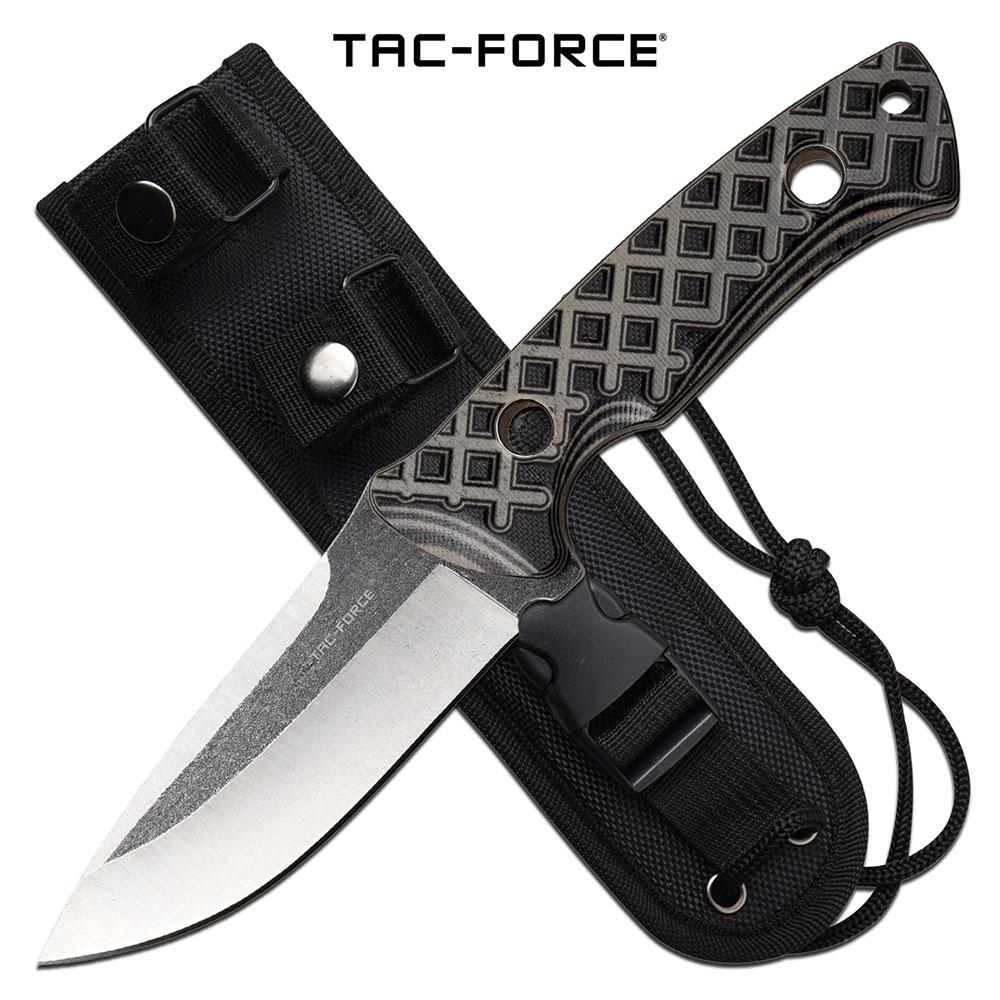 Tactical Combat Knife Tac-Force Fixed-Blade Full Tang Tan G10 Handle + Sheath