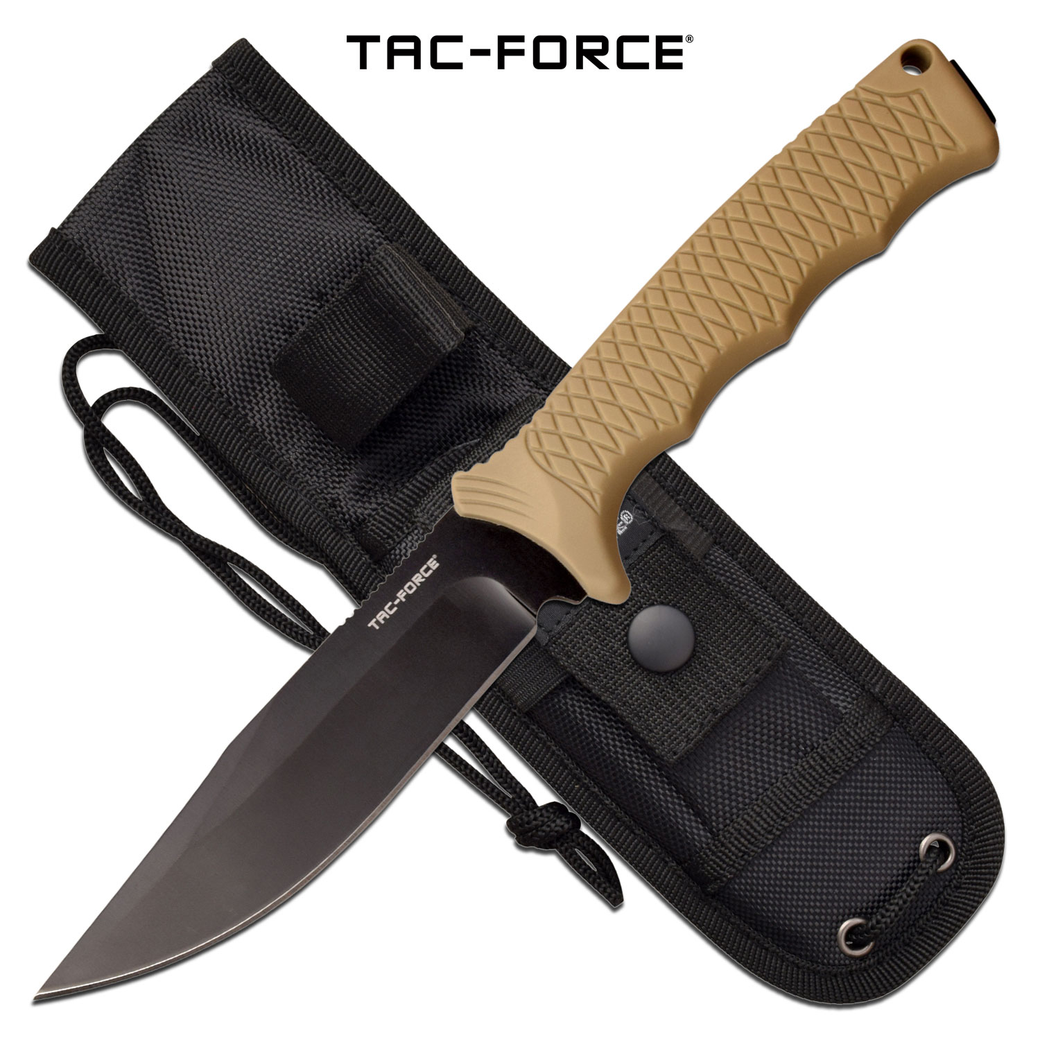 "Tactical Knife | Tac-Force Tan 9.8"" Overall Bowie Full Tang Hard Rubber Handle"