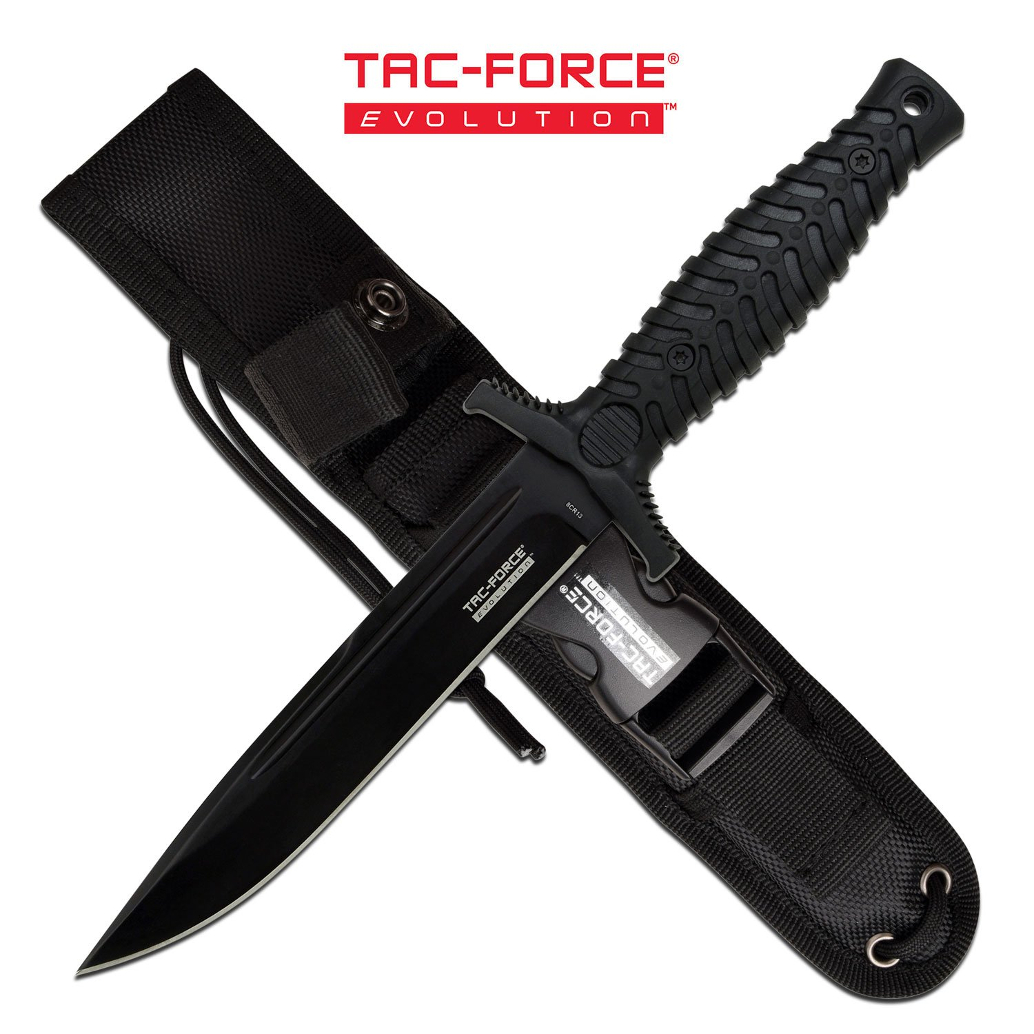 "Dagger | 5.75"" Blade Tac-Force Evolution Black Military Combat Tactical + Sheath"