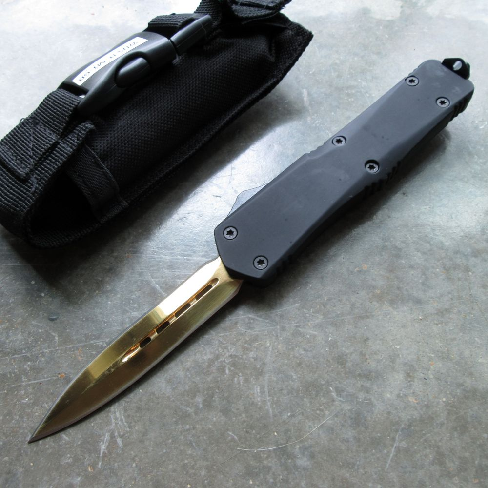 "Out-the-Front Automatic Knife | Black Atomic OTF 3.5"" Double Edge Blade Gold"