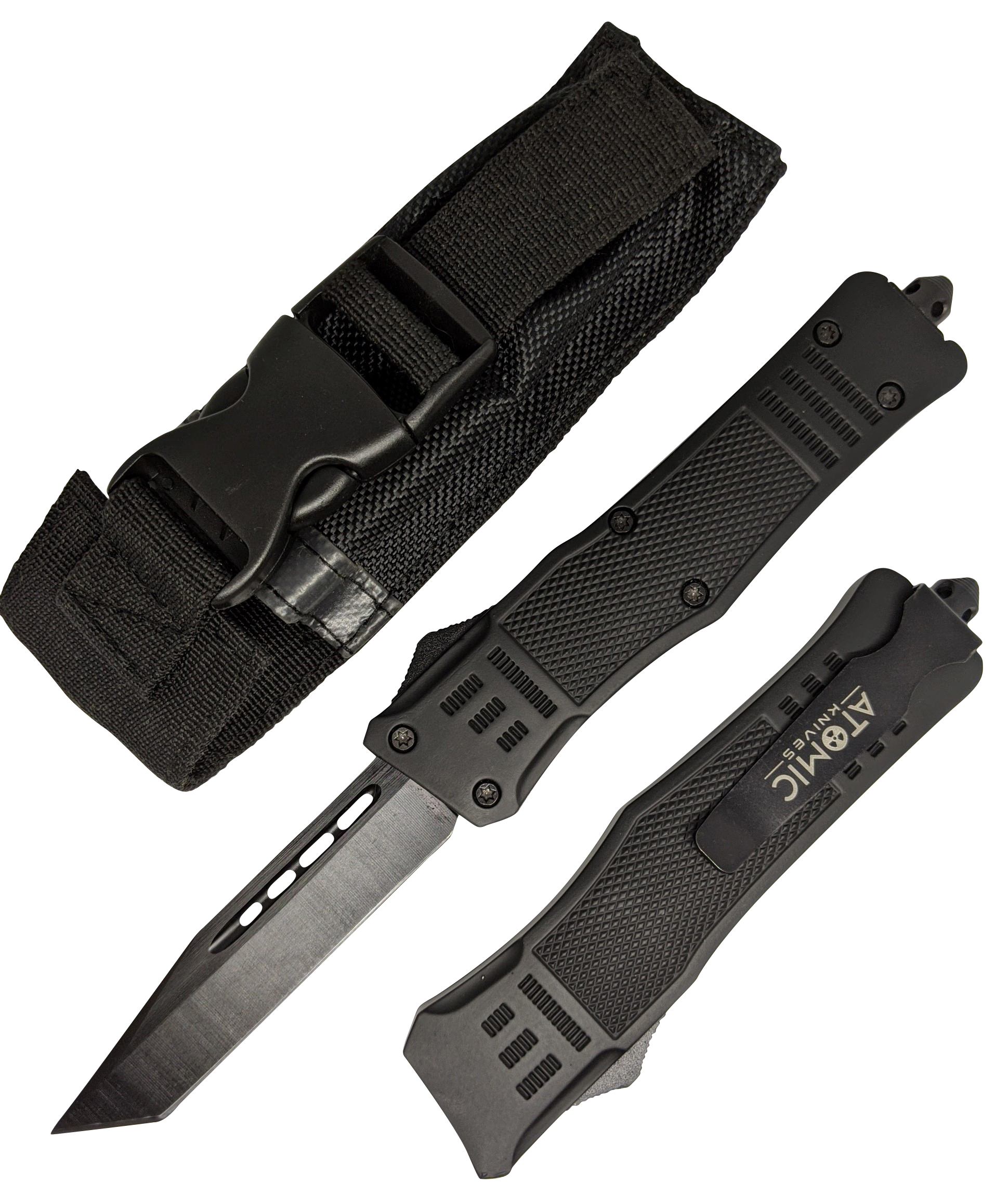 "Out-the-Front Automatic Knife | Black Atomic OTF 3.75"" Tanto Blade Tactical"