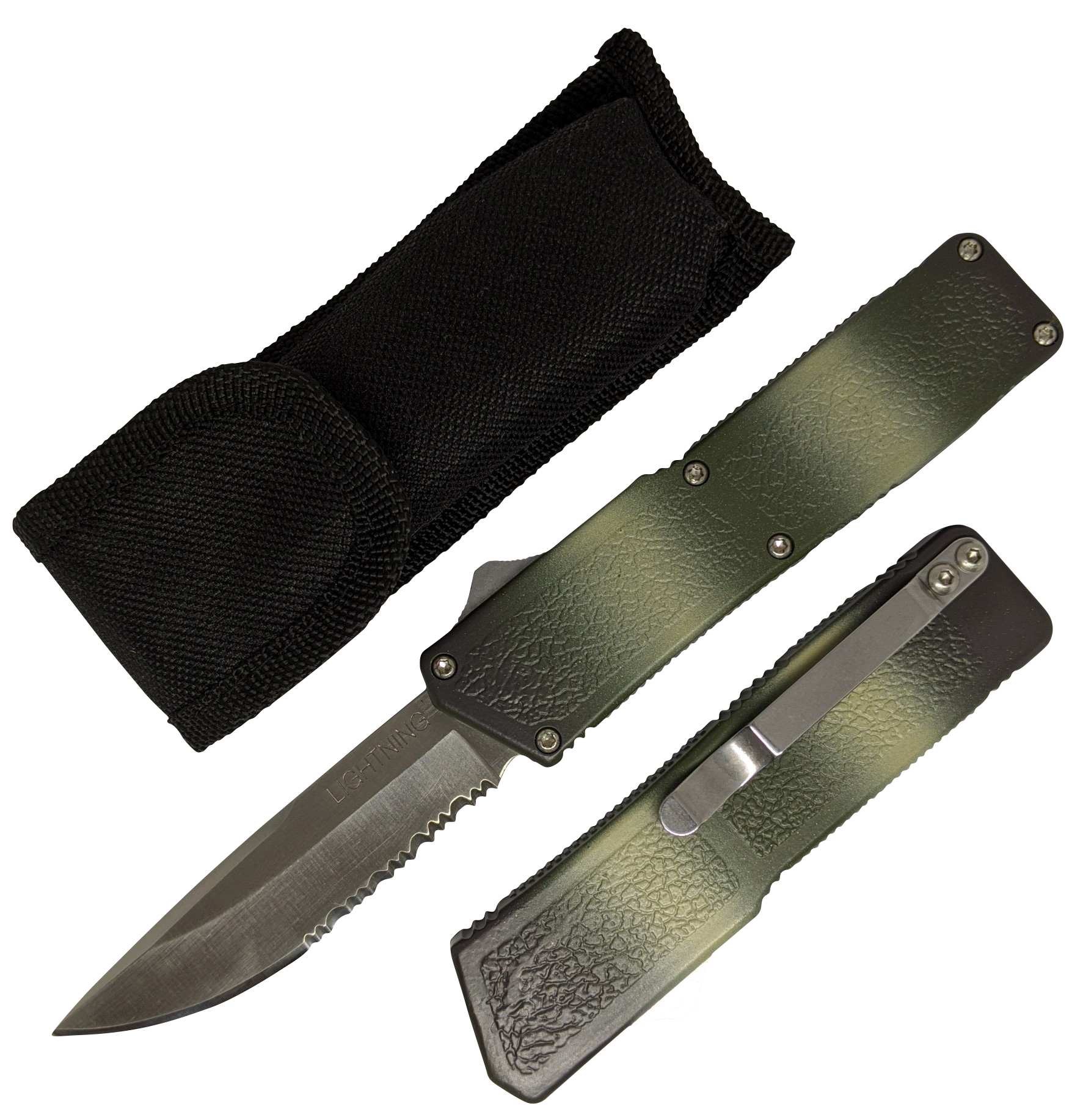 "Out-the-Front Automatic Knife Lightning OTF Serrated Silver 3.25"" Blade - Camo"