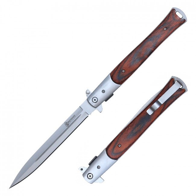 "Spring Assisted Folding Pocket Knife | 13"" Large Brown Wood Stiletto Yc-S-110-Wd"