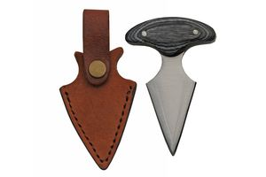 Push Dagger | Tactical Fixed Blade Knife Self Defense W/ Leather Sheath 203091