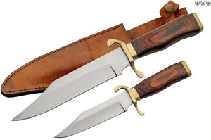Fixed-Blade Bowie Knife | 2 Piece Set Wood Brass Handle W/ Leather Sheath 203264