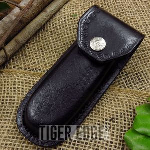 FOLDING POCKET KNIFE SHEATH | Black Leather for 5