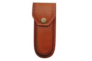 FOLDING POCKET KNIFE SHEATH | Brown Leather for 5