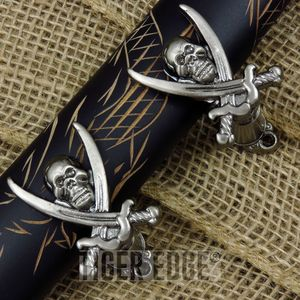 Sword Hanger Set | Pewter Gray Pirate Skull Cutlass Knife Gun Sword Wall Display