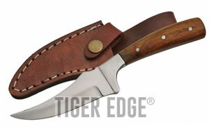 Fixed-Blade Hunting Knife | Silver Blade Brown Wood Handle Sharp Finger Skinner